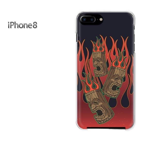 iPhone8 iphone8 ケース ハードカバー プリント ゆうパケ クリア  フレアパターン・シンプル(黒)/i8-pc-ne416]
