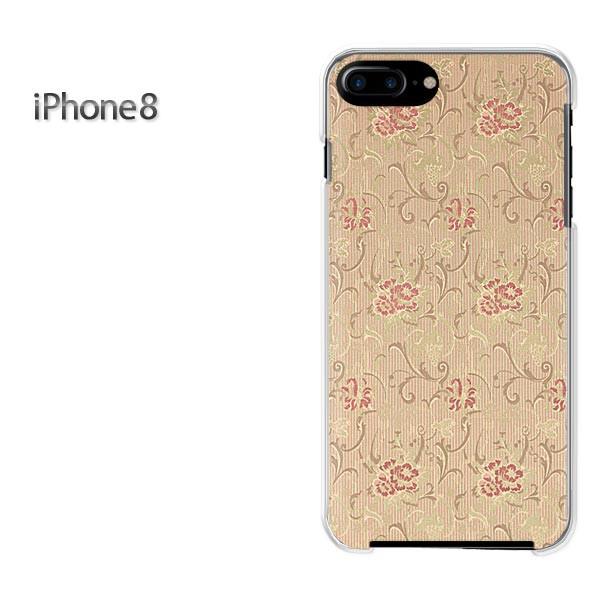 iPhone8 iphone8 ケース ハードカバー プリント ゆうパケ クリア 花(ベージュ・赤)/i8-pc-new0223]