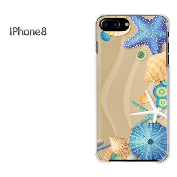 iPhone8 iphone8 ケース ハードカバー プリント ゆうパケ クリア 夏・シンプル・貝殻(ブルー)/i8-pc-new0782]