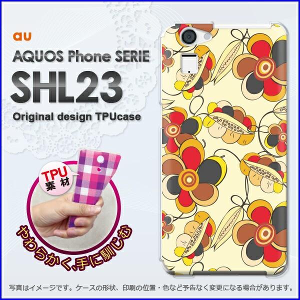 ゆうパケ★TPUソフトケース★au AQUOS Phone SERIE SHL23(アクオス)用ケースshl23 ケース]ケース/カバー]花(ベージュ)/shl23-new