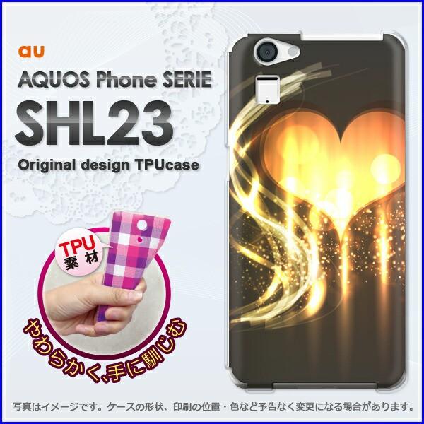 ゆうパケ★TPUソフトケース★au AQUOS Phone SERIE SHL23(アクオス)用ケースshl23 ケース]ケース/カバー]ハート(黒・黄)/shl23-n
