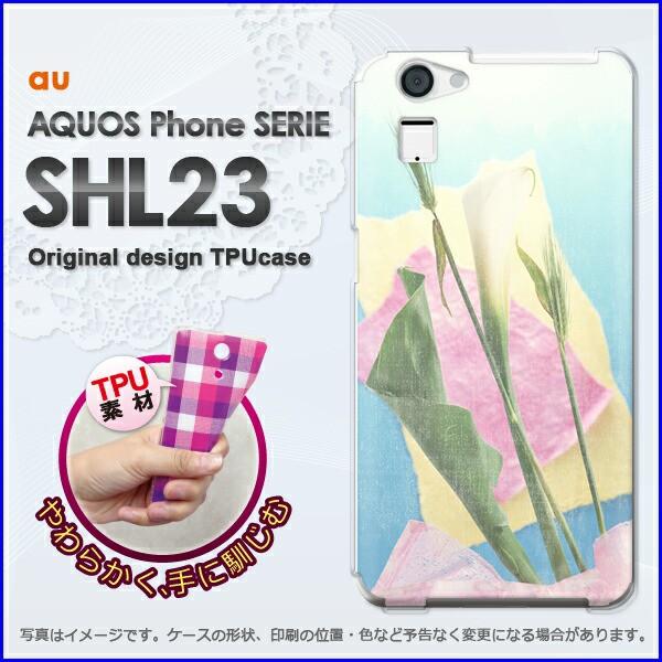 ゆうパケ★TPUソフトケース★au AQUOS Phone SERIE SHL23(アクオス)用ケースshl23 ケース]ケース/カバー]花・カラー(ブルー)/shl