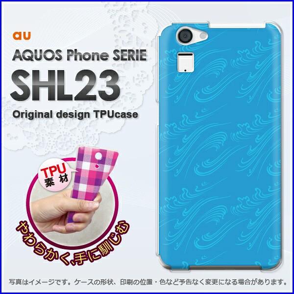 ゆうパケ★TPUソフトケース★au AQUOS Phone SERIE SHL23(アクオス)用ケースshl23 ケース]ケース/カバー]和柄(ブルー)/shl23-new