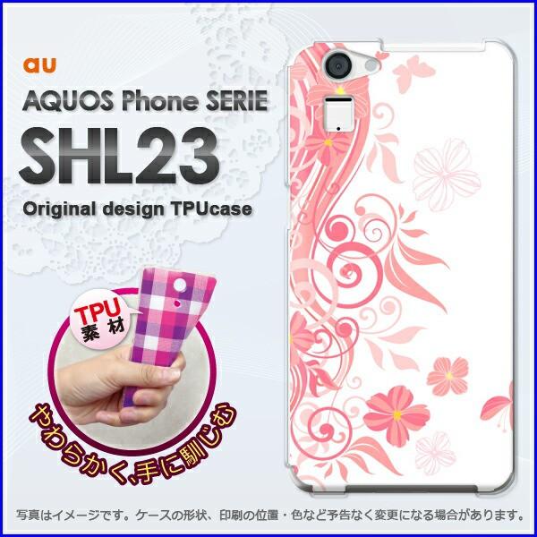 ゆうパケ★TPUソフトケース★au AQUOS Phone SERIE SHL23(アクオス)用ケースshl23 ケース]ケース/カバー]花(ピンク)/shl23-new14