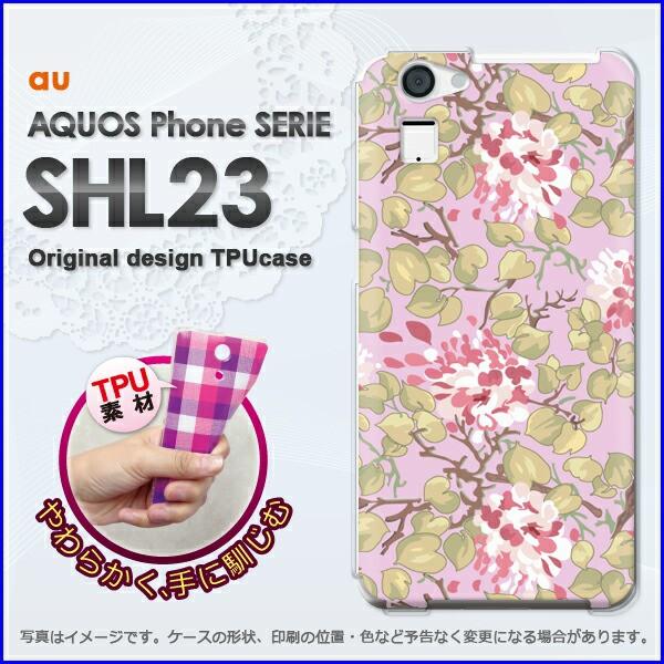 ゆうパケ★TPUソフトケース★au AQUOS Phone SERIE SHL23(アクオス)用ケースshl23 ケース]ケース/カバー]花(ピンク)/shl23-new16
