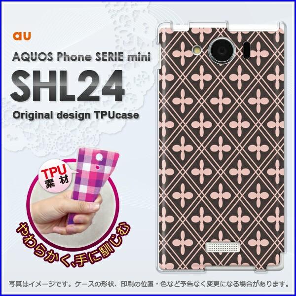 ゆうパケ★TPUソフトケース★au AQUOS Phone SERIE mini SHL24 (アクオス)用ケースshl24 ケース]ケース/カバー]和柄(ピンク)/shl