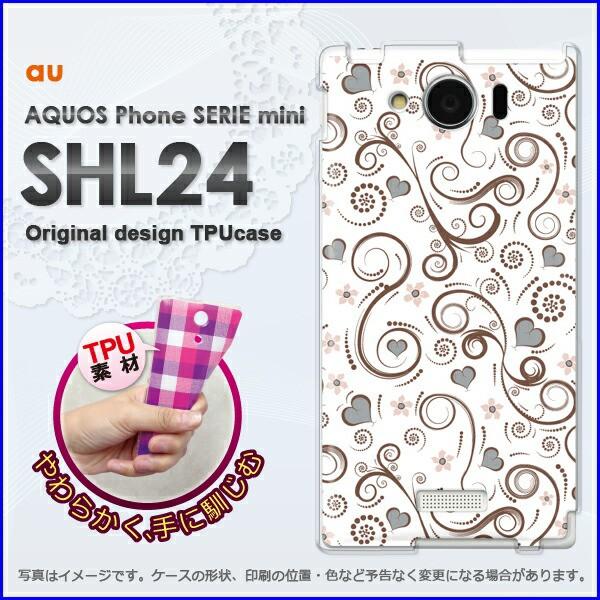 ゆうパケ★TPUソフトケース★au AQUOS Phone SERIE mini SHL24 (アクオス)用ケースshl24 ケース]ケース/カバー]花・レトロ(白)/s