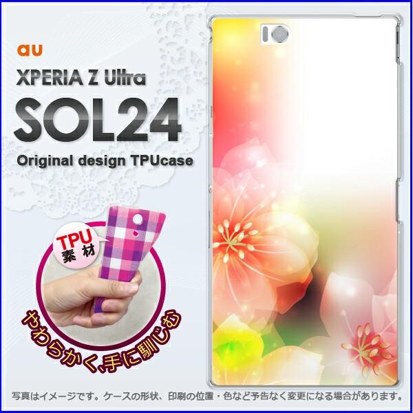 ゆうパケ★TPUソフトケース★au XPERIA Z Ultra SOL24 (エクスペリア)用ケースshl24 ケース]ケース/カバー]花(ピンク)/sol24-new