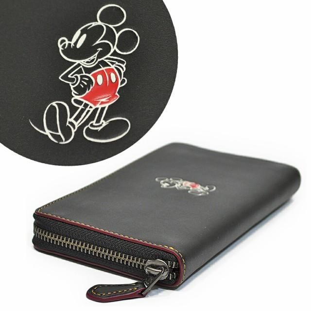 コーチ COACH 財布 長財布 F58939 QB/BK ディズニー ミッキーマウス コラボ レザー アコーディオン ジップアラウンド ブラック