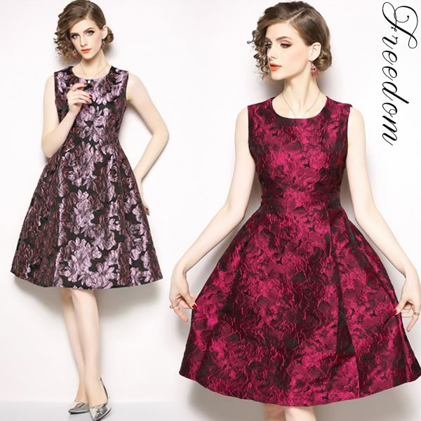 5725d88a39138 セール 大きいサイズ ドレス 結婚式 二次会 お呼ばれ ☆ 上品艶感花柄ジャガード織