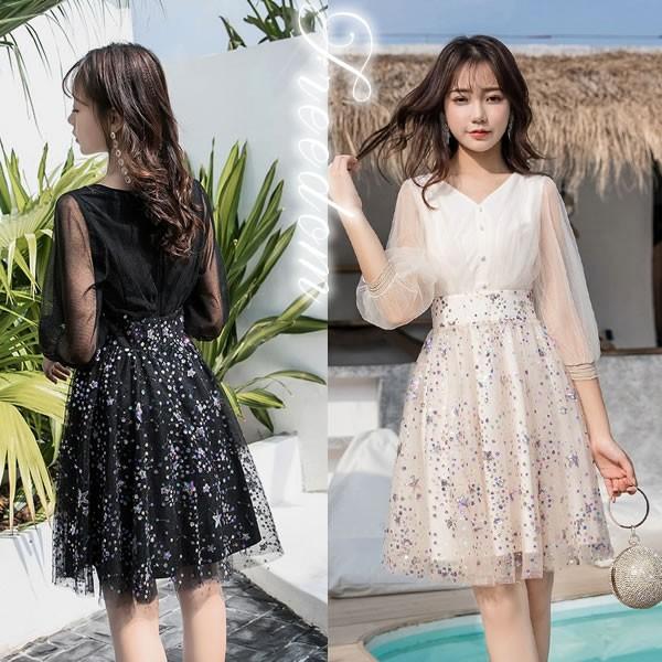 b9b51af791575 セール 大きいサイズ ドレス 結婚式 パーティー☆大人可愛いカラフルスパンコールドレスワンピース☆M L