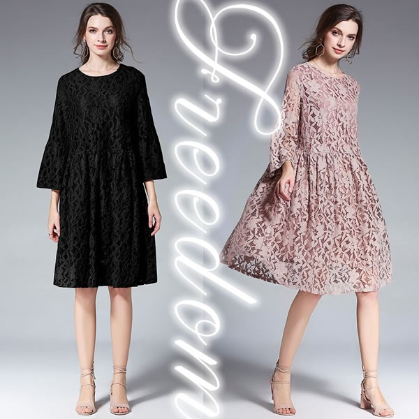 bf567e4847044 セール ドレス 結婚式 パーティー 大きいサイズ☆ゆったりスタイル花柄総レースドレスワンピース