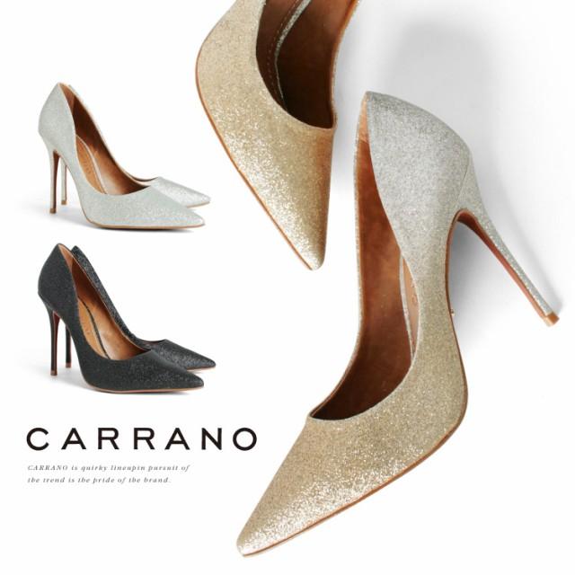 パンプス CARRANO ハイヒール ポインテッドトゥ ピンヒール ヒール11cm グリッターラメ カラーノ 靴 (671112) 【送料無料】