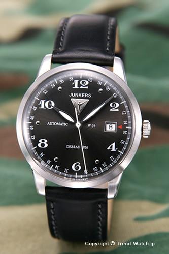 超美品の ユンカース 腕時計 フラットライン オートマチック ブラック/ブラックレザー 6350-2AT, シラサワムラ e4961b74