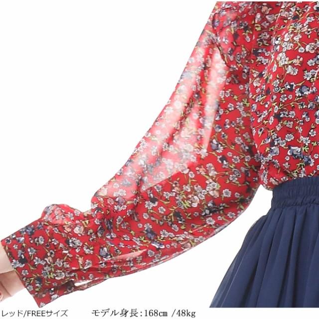 シフォン ブラウス レトロ花柄ボウタイシャツ 送料無料長袖シャツ フラワー 小花柄 リボン シフォンtpm1801-0733
