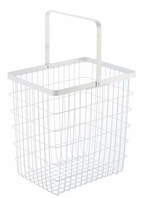 ランドリーワイヤーバスケット タワー Lサイズ ホワイト ブラック 洗濯カゴ ランドリーバスケット かご 籠 メール便定型外郵便不可