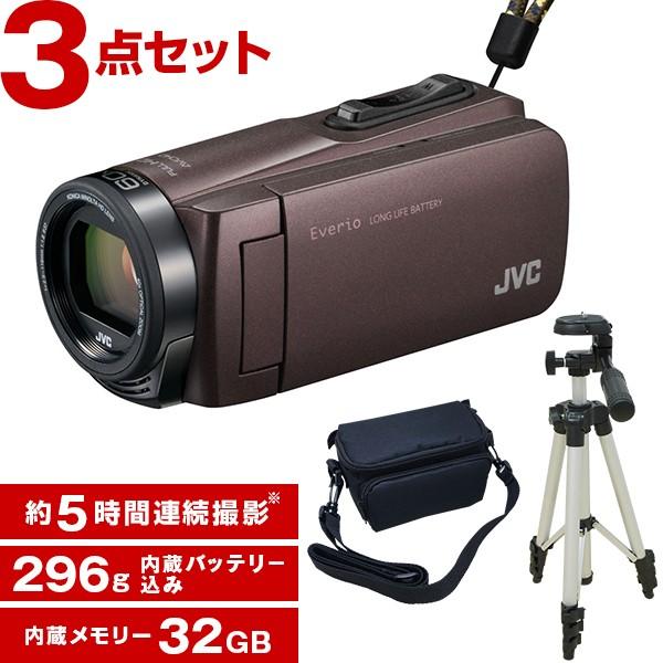最前線の ブラウン + KA-1100 Everio GZ-F270-T [フルハイビジョンメモリービデオカメラ(32GB)] 三脚&バッグ付きお得セット JVC(ビクター)-ビデオカメラ