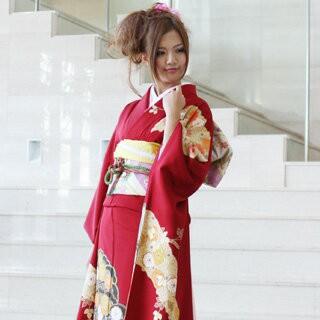 【限定品】 振袖 レンタル正絹京友禅フルセット20点振袖  赤色[赤][華やか][上品]-和装・和服