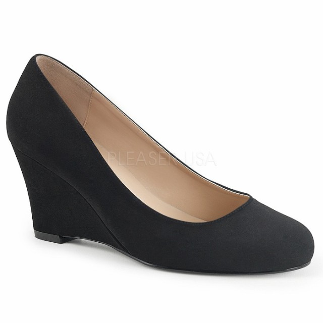 取寄せ靴 送料無料 ウェッジ パンプス 7.5cmヒール 黒 ブラック ヌバック スエード 大きいサイズあり イベント 仮装 女装 男装 パーティ-