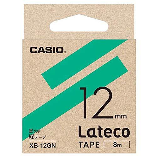 【メール便発送】カシオ ラテコ詰め替え用テープ 12mm 黒文字/緑テープ XB-12GN