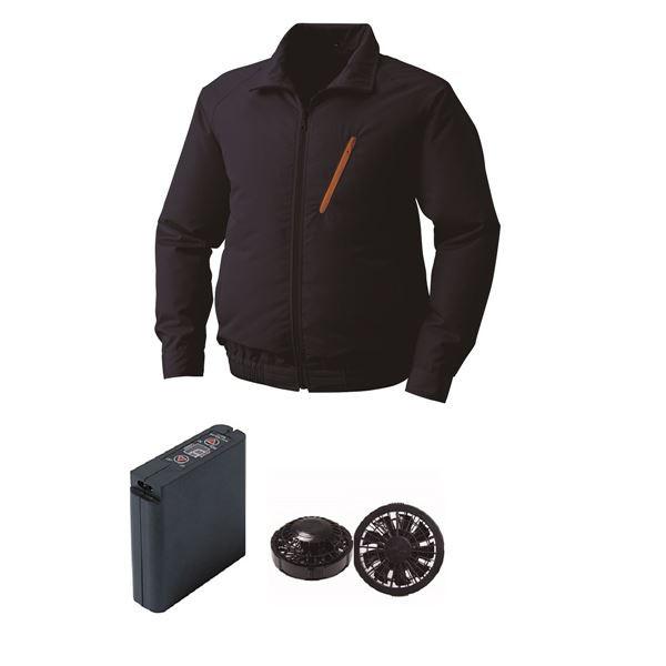 【スーパーセール】 ポリエステル製空調服 〕 ファンカラー:ブラック 大容量バッテリーセット 0510B22C03S5 サイズ:XL 〔ネイビー 空調服-作業服