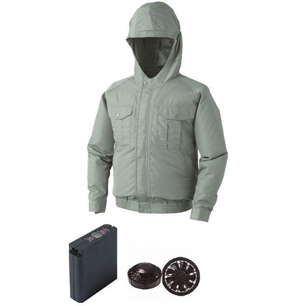 【在庫限り】 サイズ:5L 大容量バッテリーセット ファンカラー:ブラック 〕 空調服 0810B22C07S7 〔モスグリーン フード付ポリエステル製ワーク空調服-作業服