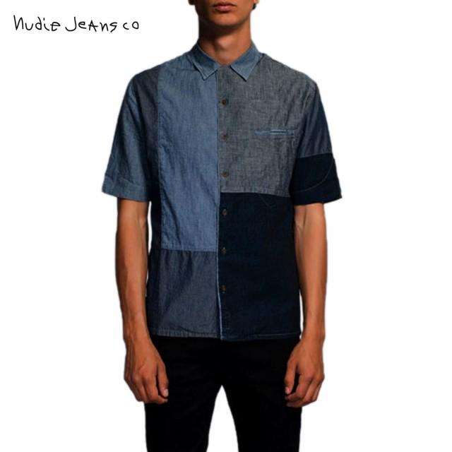 【国内正規品】 ヌーディージーンズ シャツ メンズ 正規販売店 Nudie Jeans 半袖シャツ Brody Crazy Pattern 140321 3020 B20 Blue, 子供服yuai e686bb80