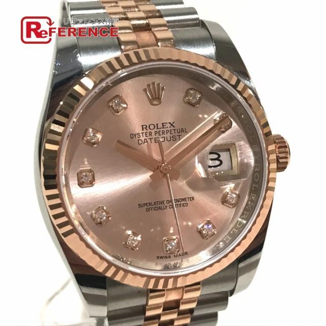 new style 6463a 0f2e9 あす着 ROLEX ロレックス 116231G デイトジャスト 10Pダイヤ デイト 腕時計 ピンクゴールド