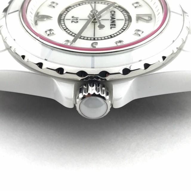buy online 2b6cc f95dd あす着 CHANEL シャネル H2570 J12 ピンクラインガラス 8Pダイヤモンド 腕時計 ホワイト