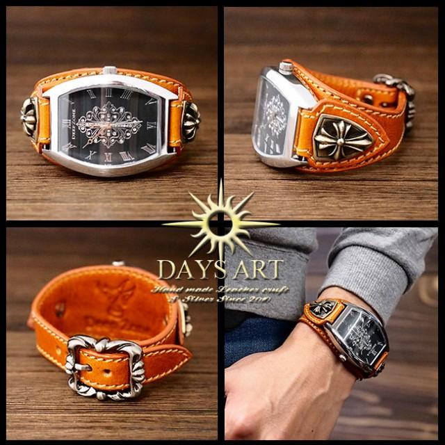 ad2011c205 牛革ベルト トノーフェイス イタリアンレザー ゴシッククロスコンチョ ホワイトメタル レザーブレスレットウォッチ 電池式-その他腕時計。