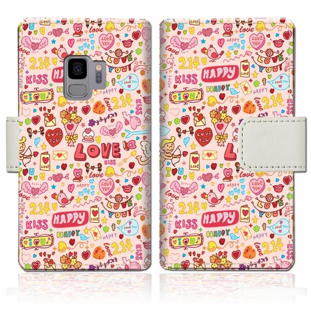 au Galaxy S9 SCV38/docomo SC-02K 手帳型 ケース カバー 手帳ケース 手帳カバー【LOVE214デザイン】