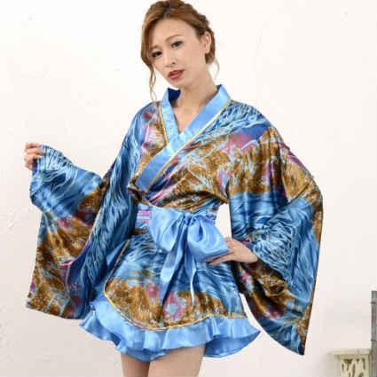 着物ドレス ミニ浴衣 浴衣ドレス よさこい 衣装 花魁 ドレス【Jewel ジュエル ゴールドパイピング ミニ浴衣ドレス】