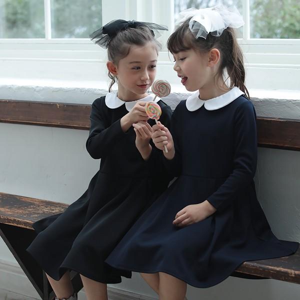 aaa8b22df58ae 子供服 ワンピース キッズ 韓国子供服  襟付きワンピース 女の子 ワンピース ブッラク ネイビー