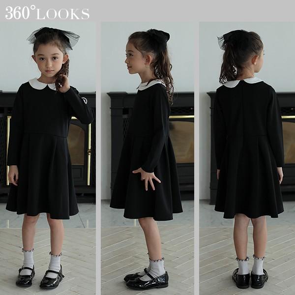 0a8210388cba6 子供服 ワンピース キッズ 韓国子供服  襟付きワンピース 女の子 ワンピース ブッラク ネイビー