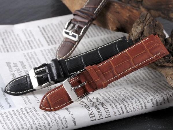 e8f6283608 本革 腕時計バンド カーフ型押しクロコマット 腕時計ベルト 腕時計用 替えベルト 牛革
