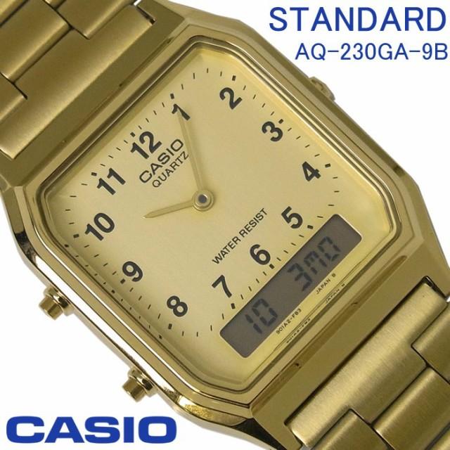 438421548f カシオ CASIO スタンダード メンズ レディース アナデジ 腕時計 AQ-230GA-9D ゴールド×文字盤