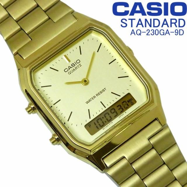 f7afa953ed カシオ CASIO スタンダード メンズ レディース アナデジ 腕時計 AQ-230GA-9D シンプル ゴールド×文字