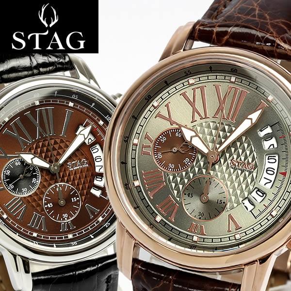 かわいい! STAG TYO スタッグ 腕時計 スタッグ 腕時計 クロコダイル本革 レザー ワニ革 クロノグラフ 日本製 カレンダー 10気圧防水 レザー メイドインジャパン メンズ STG0, ギフトプラザ フレンド:08d6542a --- chevron9.de