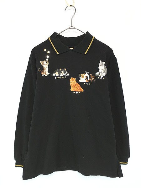 レディース 古着 90s USA製 ネコ ちゃん 刺しゅう アート カットソー ブラック S 古着
