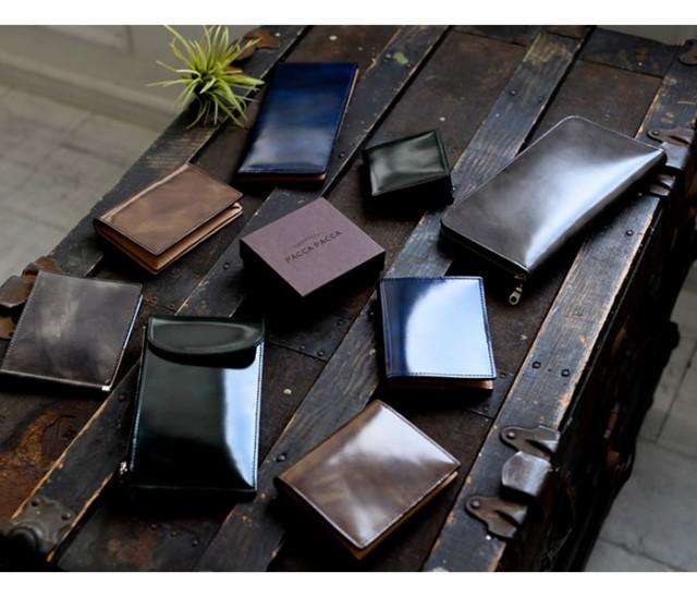 二つ折り財布 小銭入れなし カード入れ ベラ付き コンパクト 革財布 メンズ 男性 紳士 日本製 本革 牛革 馬革 ネブラ paccapacca