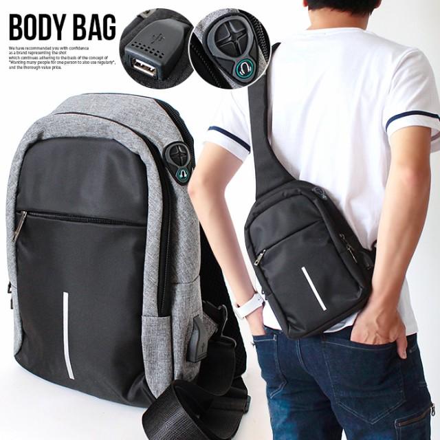 バッグ ショルダーバッグ ボディバッグ BAG メンズ 鞄 USB イヤホンホール 充電 ケーブル 斜め掛け ポケット 反射テープ ブラック グレー