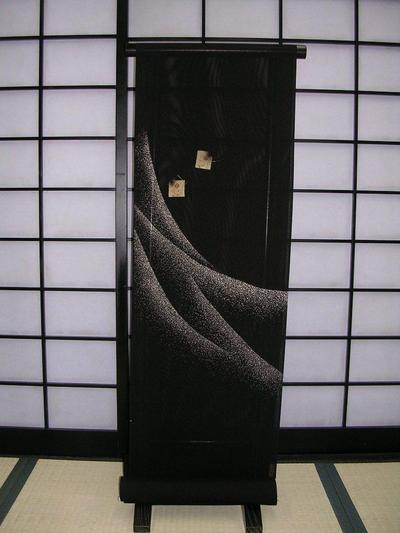 激安先着 ★正絹小紋着尺★黒地に波・かるた柄, 東京ヒマワリ f21febac