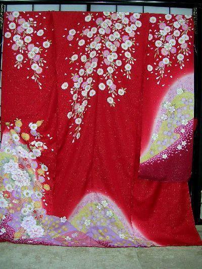 新作人気 ▲正絹本振袖:別誂え手縫い仕立て付▲赤地に牡丹柄no105, 恵山町 124e885f
