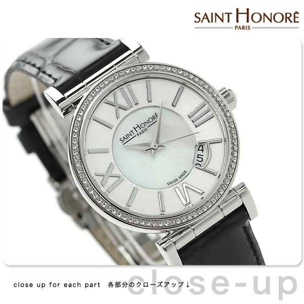 0d52e34b9b サントノーレ オペラ スモール スイス製 レディース SN7520121YRN SAINT HONORE 腕時計 クオーツ ホワイトシェル×ブラック  レザーベルトの通販はWowma!