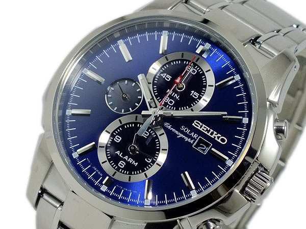 【2019 新作】 腕時計 メンズ セイコー SEIKO ソーラー SOLAR クロノグラフ SSC085P1 メタルブルー, 電材堂 973160ac