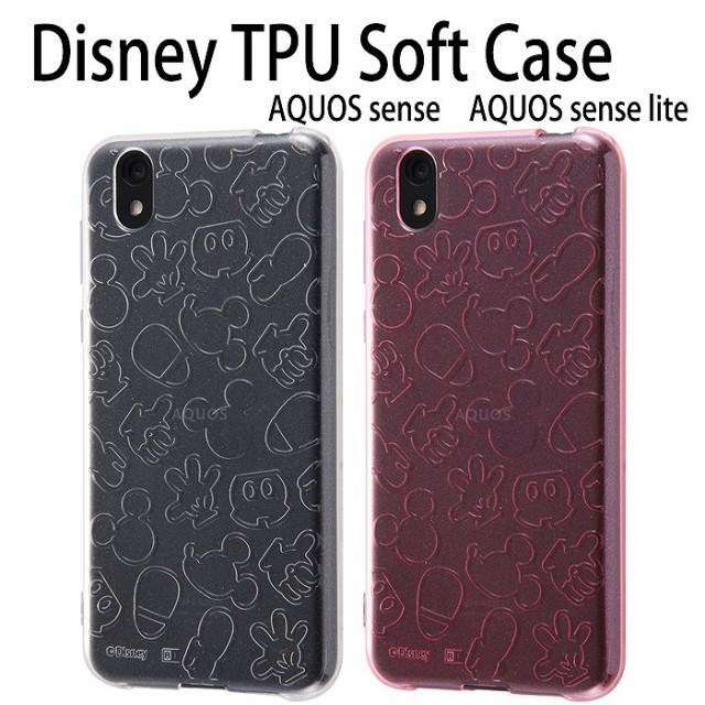 780509a8e0 AQUOS sense対応ケース カバー ディズニーキャラクター TPUソフトケース キラキラ ラメ入り ミッキーマウス Disney