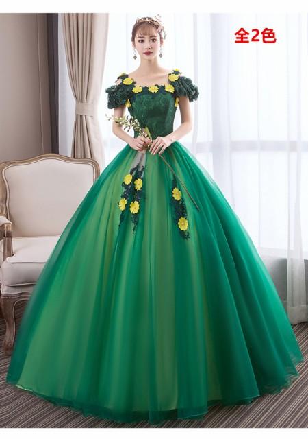 お得 パニエ付 カラードレス ウェディングドレス ロングドレス