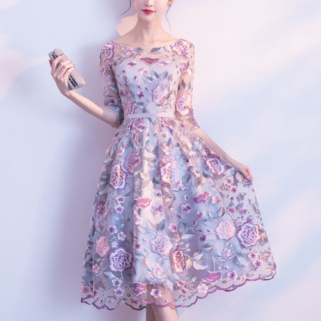 cadcc17812386 ワンピース ドレス パーティードレス 花柄刺繍 可愛い エレガント マキシ 膝丈 結婚式 二次会 イブニング
