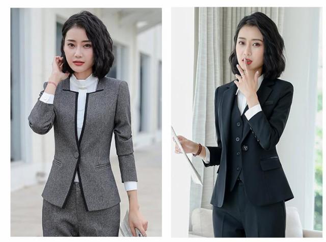 ad0a6b11d867e5 新作品質良い 長袖レディーススーツ 3点セットスーツ リクルートスーツ フォーマル 事務服 パンツ