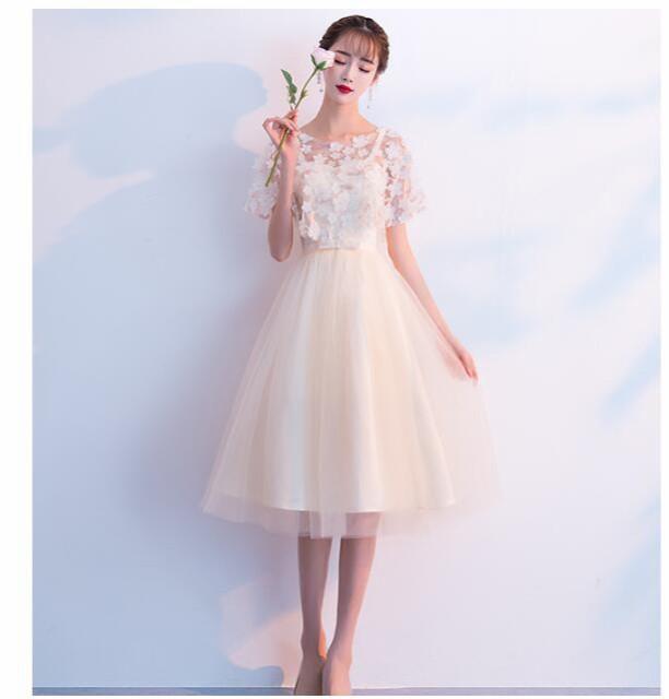 d8e8d06a0aa86 シャンペン色ワンピース☆ショート 二次会 ウェディングドレス パーティードレス 花嫁 結婚式 披露宴 カラードレス